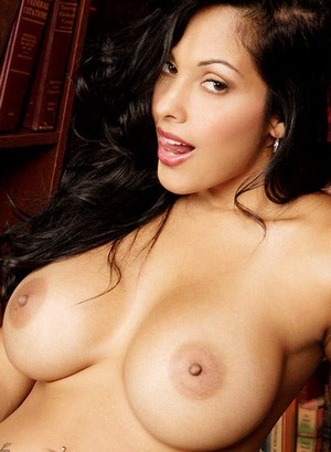 Big boobed latina porn star Nina Mercedez strips naked and masturbates in ...