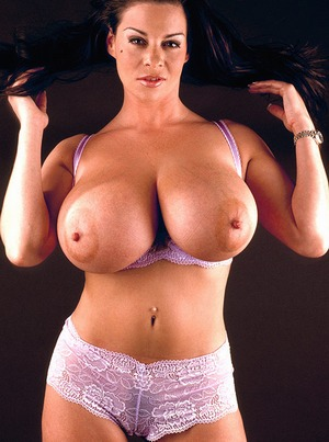 Huge boobed brunette porn star Linsey Dawn Mckenzie playing with her hot big ...